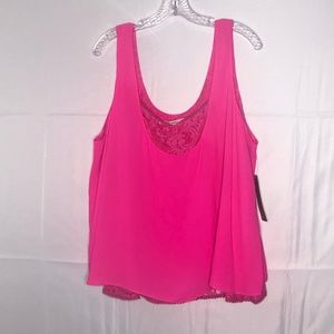 Rachel Roy Double Layer Bright Pink Tank NWT